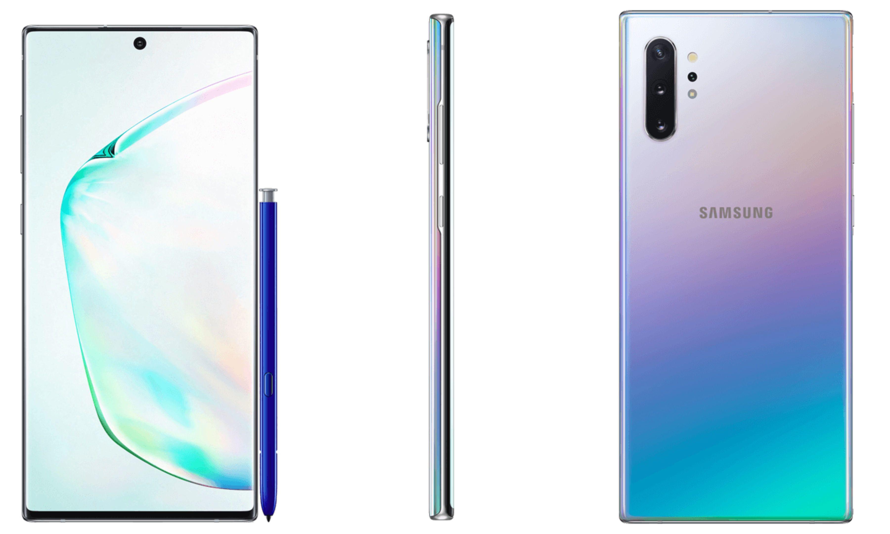 Galaxy Note 10 i hele sin høyde. En ting som taler for at dette kanskje ikke er Samsungs egne bilder av telefonen er at forsiden og baksiden har ulik høyde. Her pleier PR-bildene å være svært presise og symmetriske. Men det kan også hende at noen bare har klippet sammen bildene uten å legge så stor vekt på akkurat det.