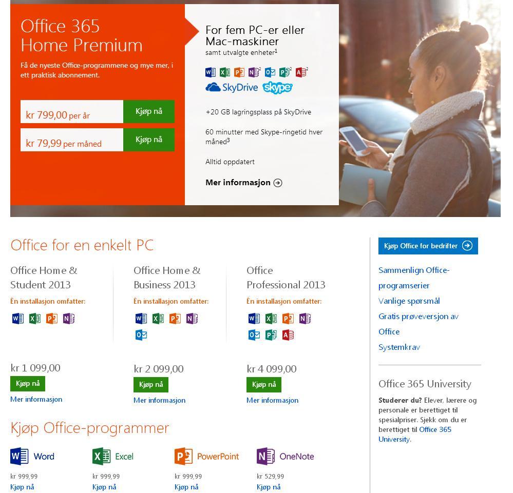 Oversikt over de ulike Office-pakkene.Foto: Microsoft