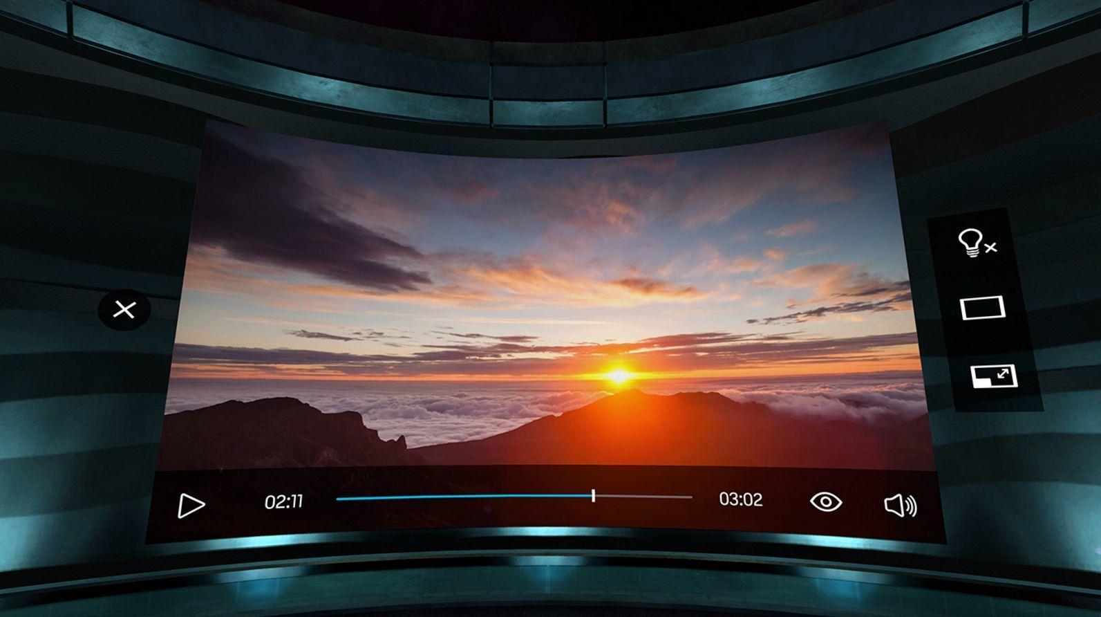 Avspilleren lar deg justere størrelsen på den virtuelle skjermen.