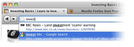 Firefox' AwsomeBar på Mac.