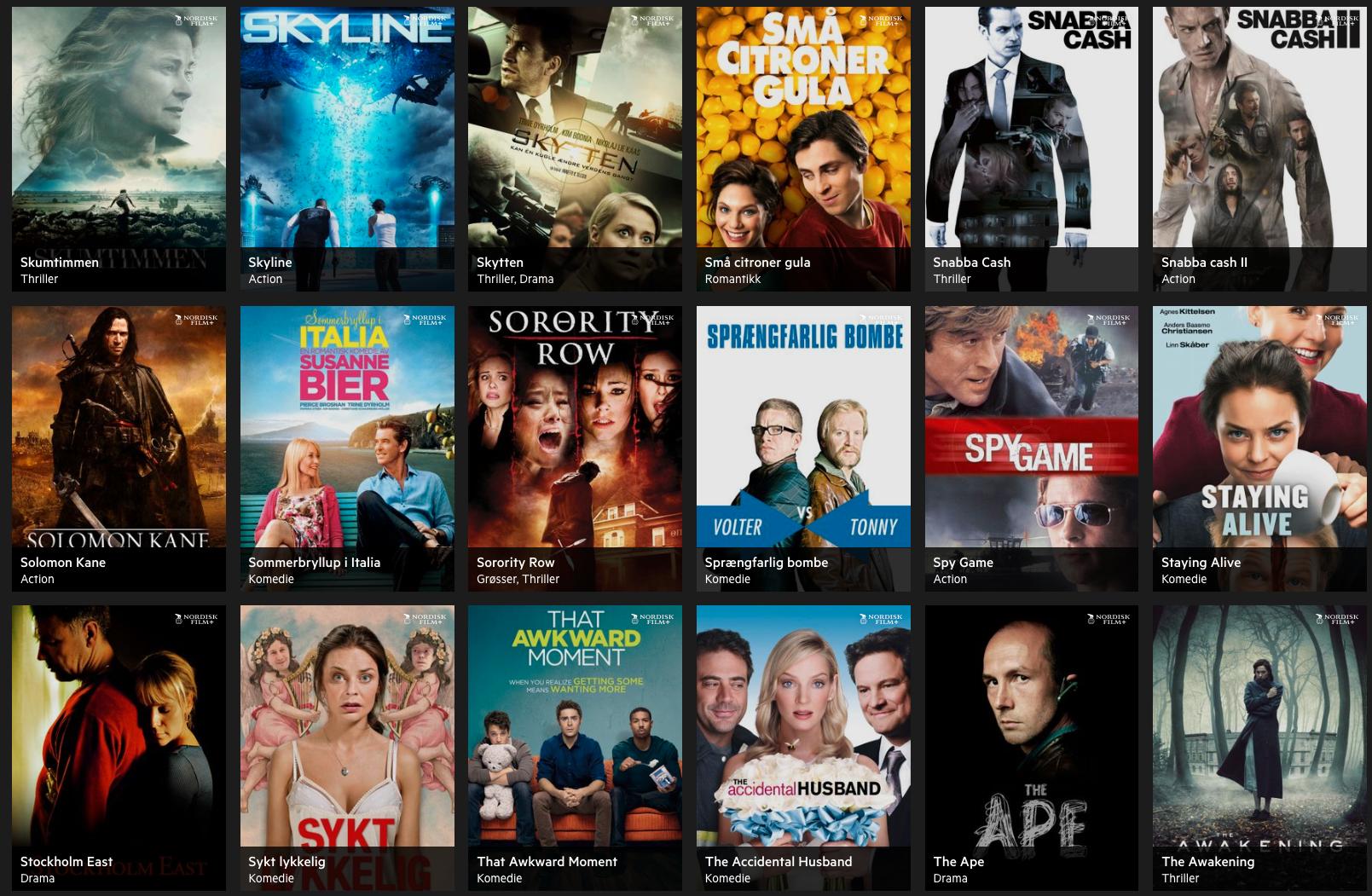 Et lite utvalg av filmene som er tilgjengelig i Nordisk Film+. De absolutt største blockbusterne virker den ikke å ha.