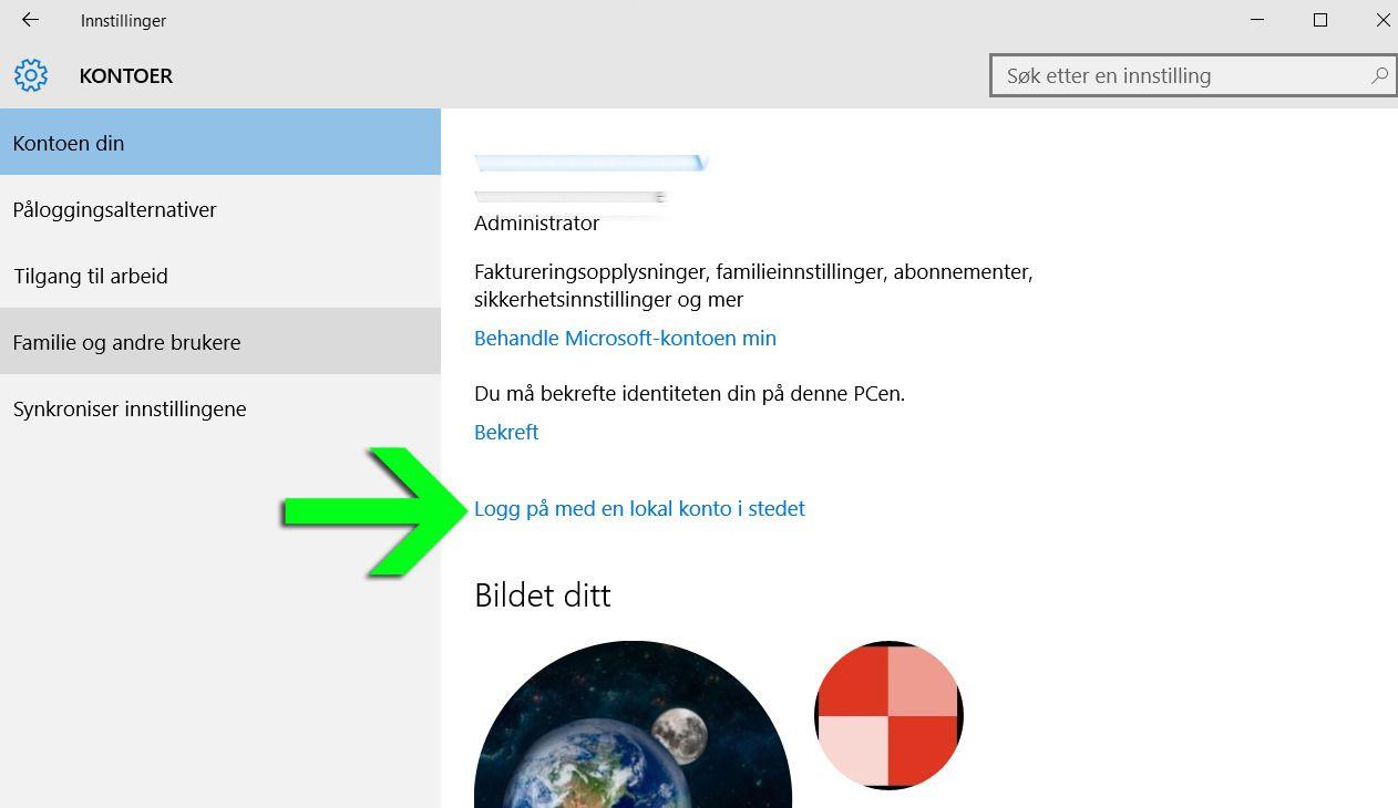 Du har valget mellom å bruke Microsoft-kontoen din eller en Lokal konto (Klikk for større bilde).