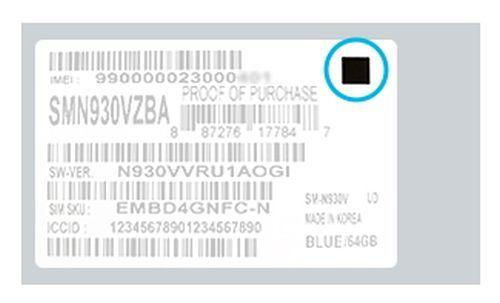 Samsung har plassert en sort firkant på pakkeetiketten til de nye, sikre telefonene.