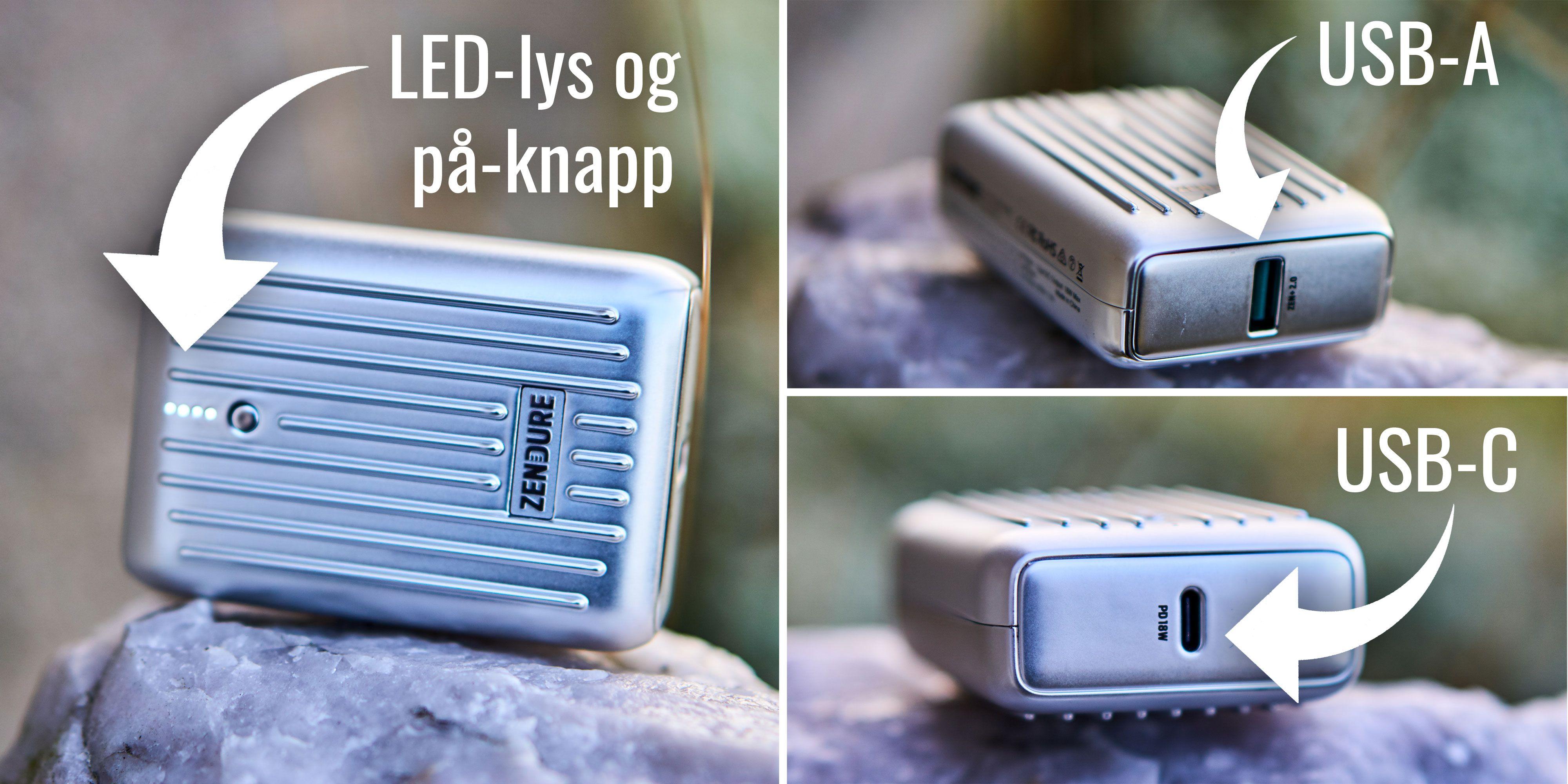 USB Type-C og Type-A er på plass.