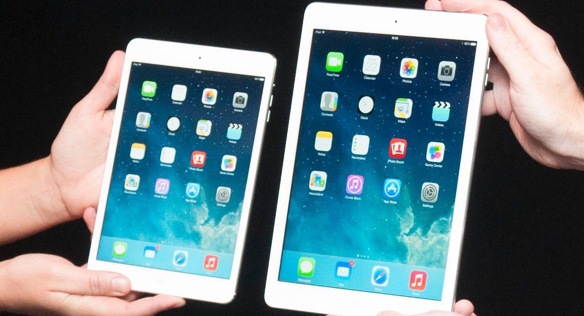 iPad mini med Retina-skjerm (til venstre) og iPad Air.Foto: Finn Jarle Kvalheim, Mobilen.no