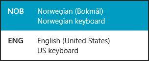 Det er enkelt å få oversikt og bytte mellom språk ved å trykke Windowstast + mellomrom.