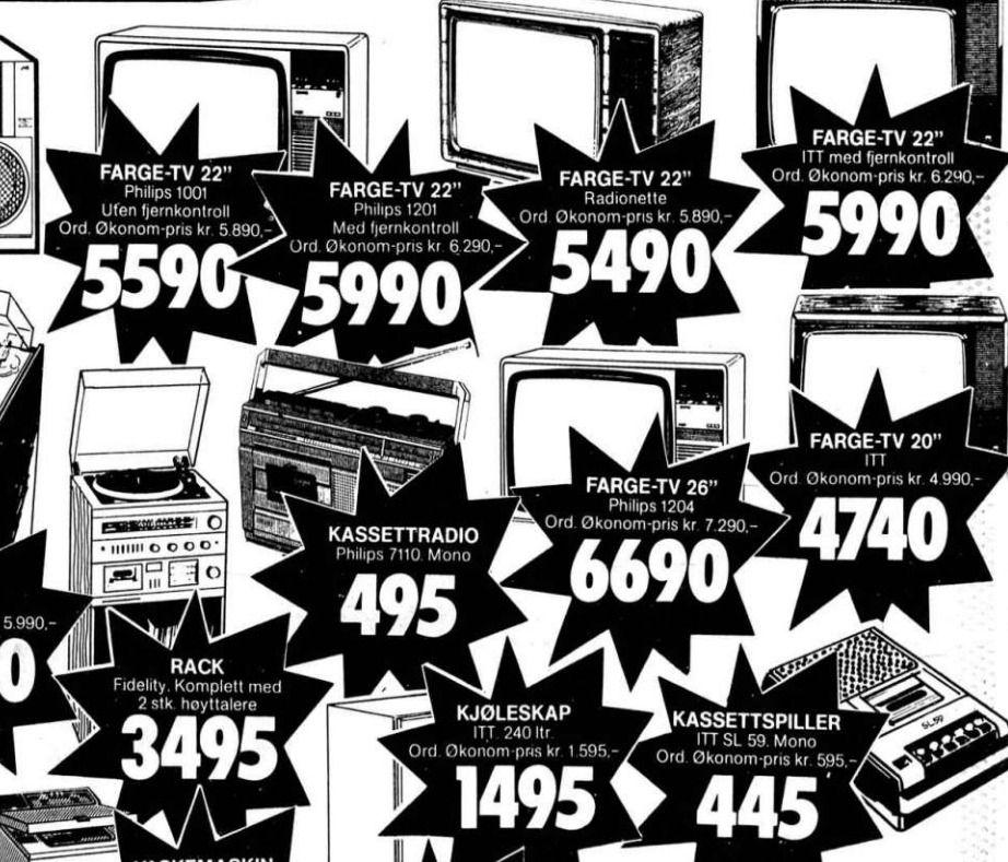 En typisk TV-annonse fra 1981. Prisene virker ikke avskrekkende, men 1 krone i 1981 tilsvarer i overkant av 3 kroner i dag.