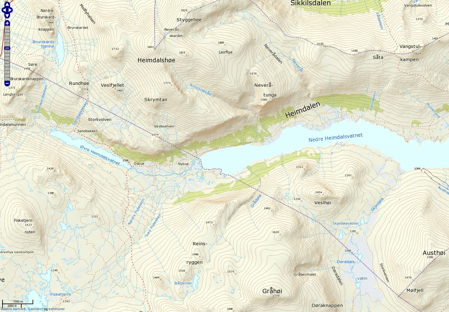 Dette er et skjermskudd fra Kartverkets topografiske kart.