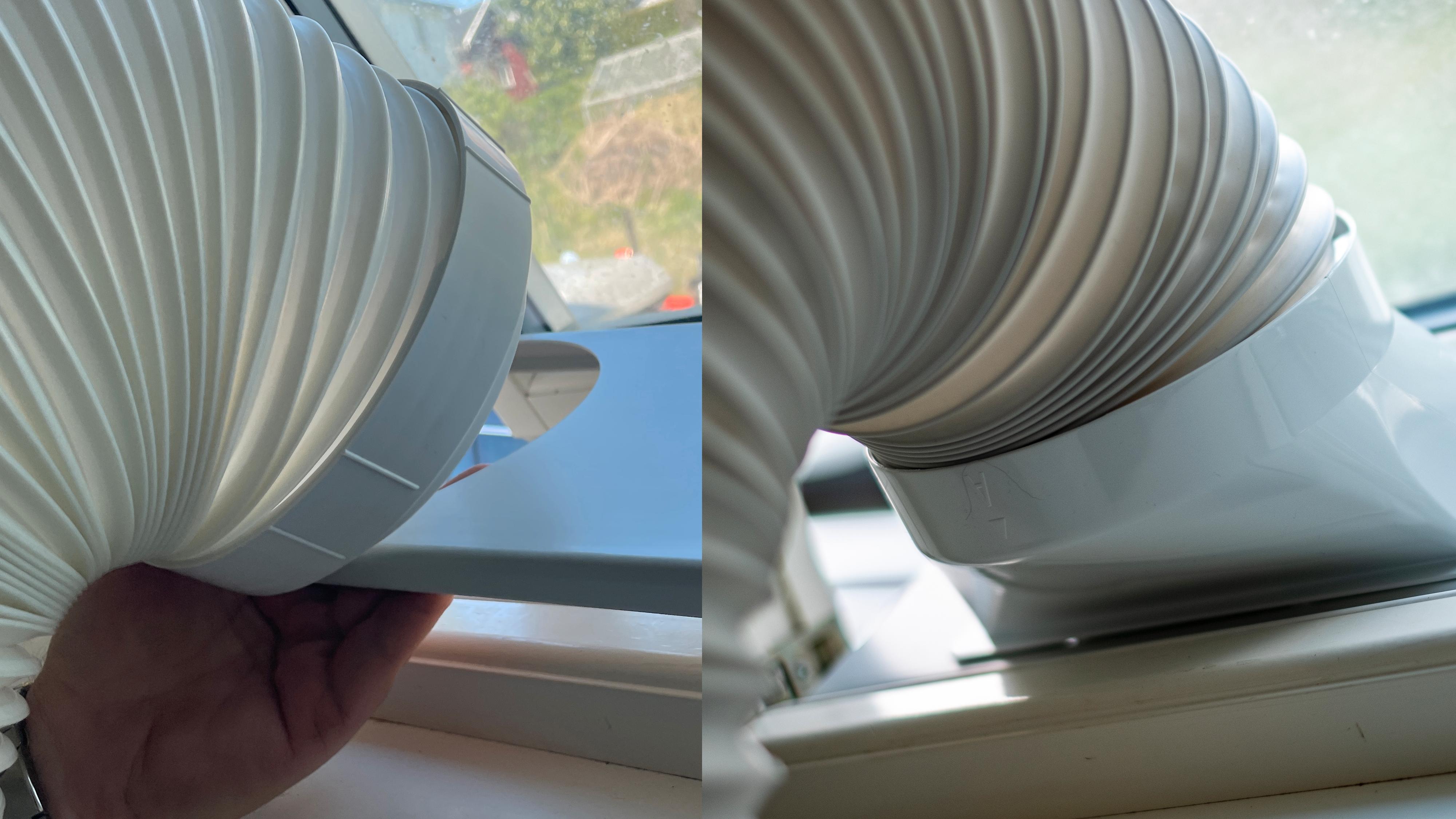 Til venstre har du Wood's Venezia - hele slangens tykkelse skal gjennom skinnen som står i vindussprekken. Hvis du får den til å sitte fast, da - som var en evig kamp da vi testet maskinen. Til høyre har du Wood's Cortina, som hadde traktformet eksosrør, med smal vindusskinne og null problemer med festet. De to eksosløsningene illustrerer greit forskjellene på maskinene.