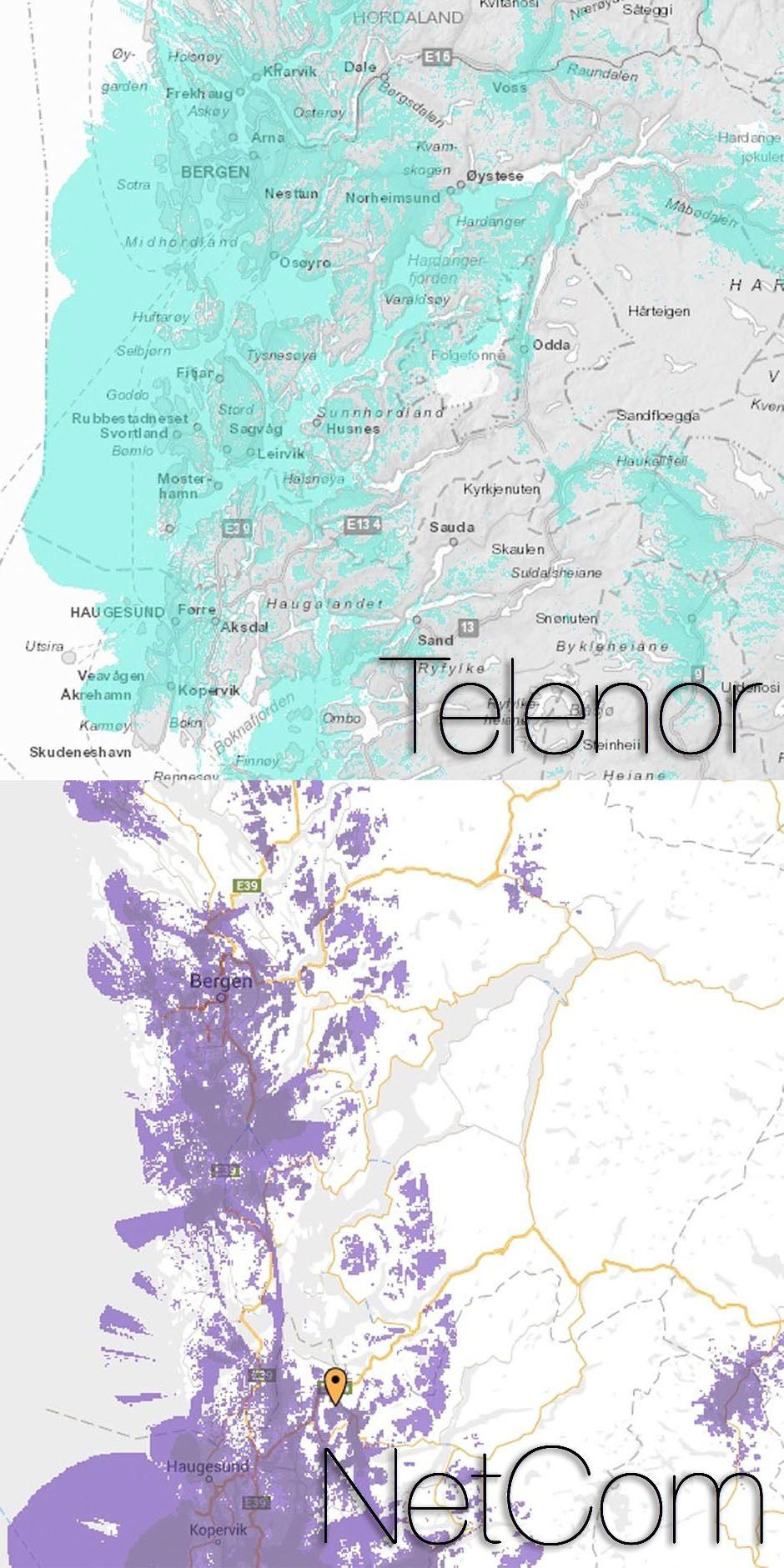 Dekningen din kan avhenge en del av hvilket nett du er i. Særlig når det kommer til 4G-dekning er dette sant, noe dekningskartene til Telenor og NetCom i Bergensområdet viser tydelig. Foto: NetCom/Telenor/Teknofil.no/montasje