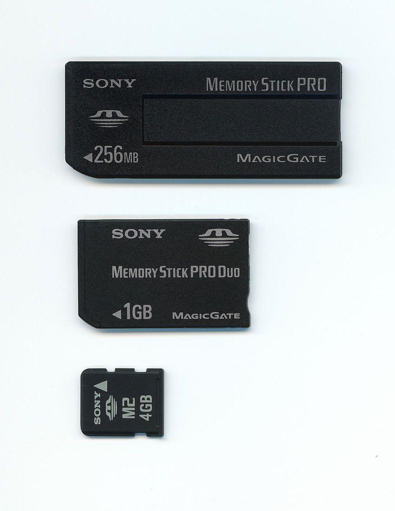 Sonys minnekort kom i en rekke forskjellige størrelser. (Foto: Wikipedia)