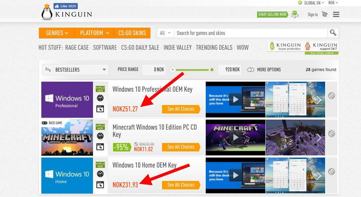 Windows-lisenser er billig hos Kinguin.