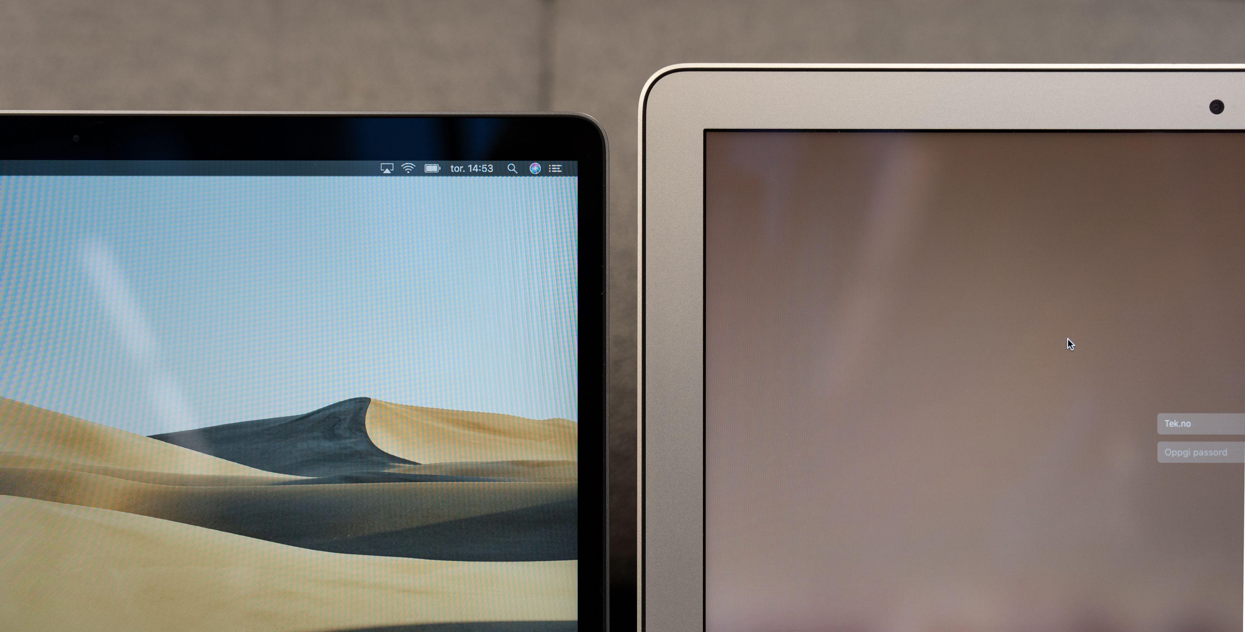 Skjermrammene er halvparten så tykke hos nye MacBook Air til venstre, enn hos gamle MacBook Air.