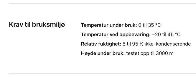 Apple har designet iPhone X for bruk i mellom 0 og 35 grader celsius.
