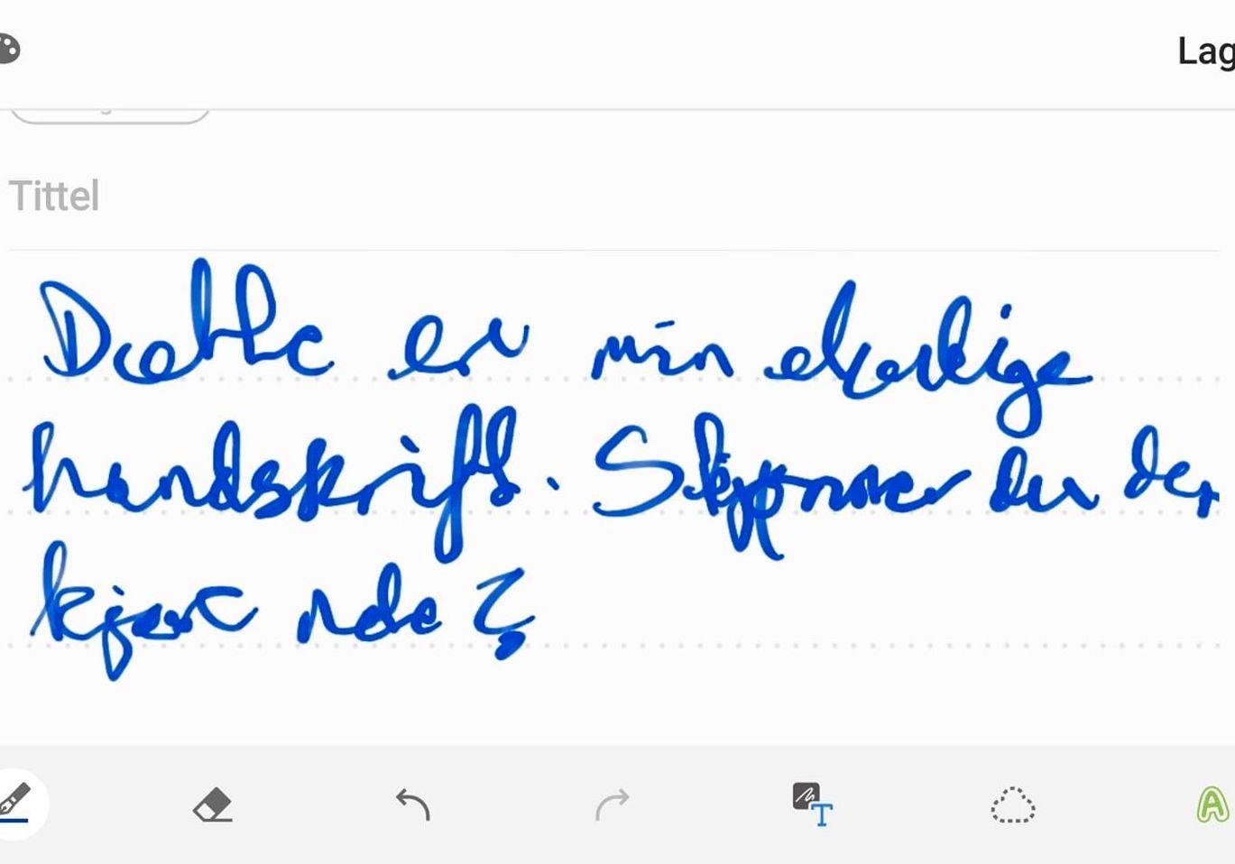 Det var disse kråketærne Note 10 oversatte til tekst i bildet over. Klarer du å lese det som står her?