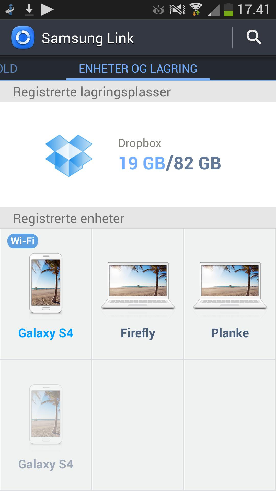 Samsung Link kan koble sammen Samsung-produkter og PC-er. Du får opp en oversikt over alle dingsene som er koblet opp, og kan se på innholdet uavhengig av hvilken enhet du bruker.Foto: Finn Jarle Kvalheim, Amobil.no