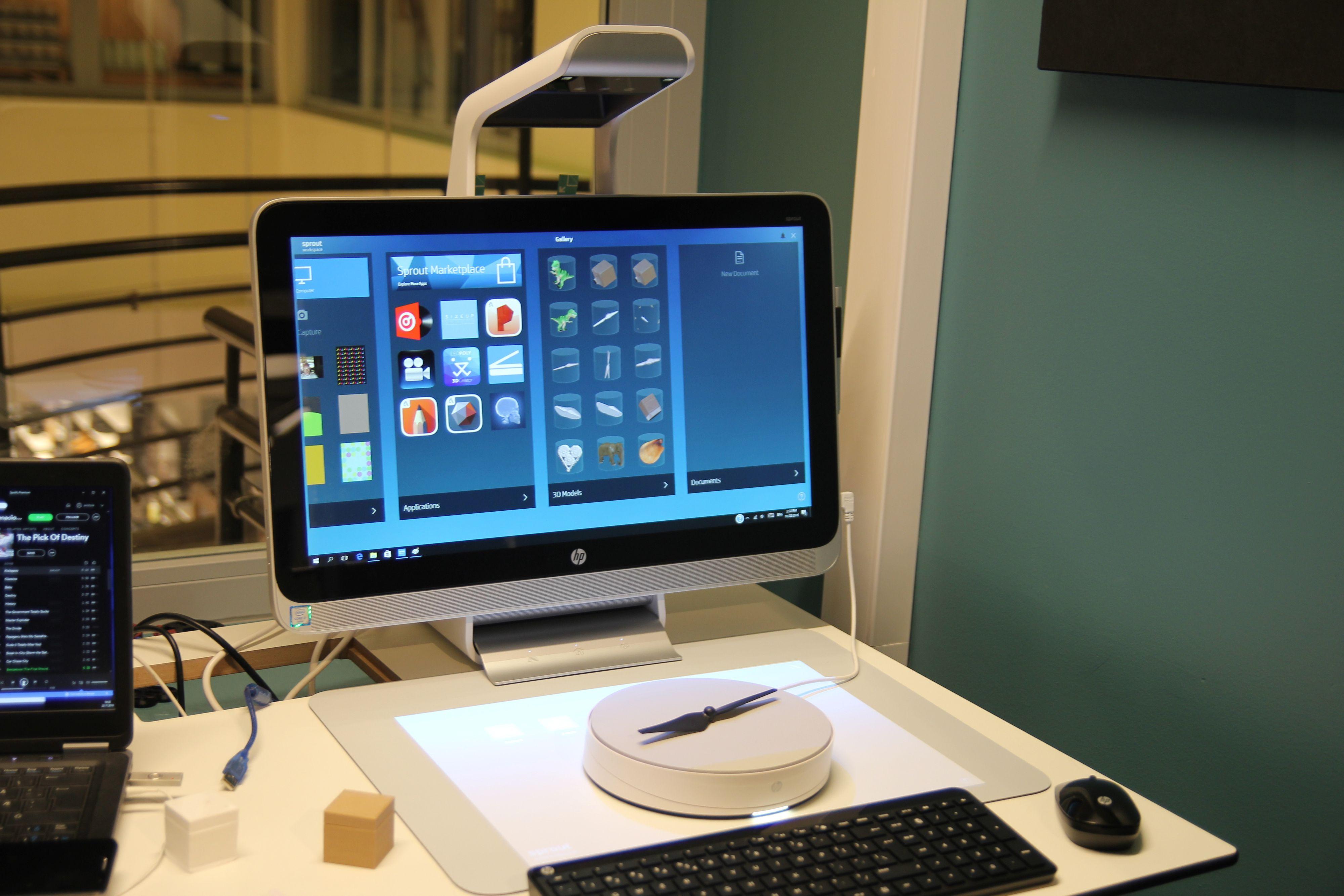 HP Sprout Pro med Capture Stage. Vi forsøkte med både hvit og sort propell, hvit ga best resultat.