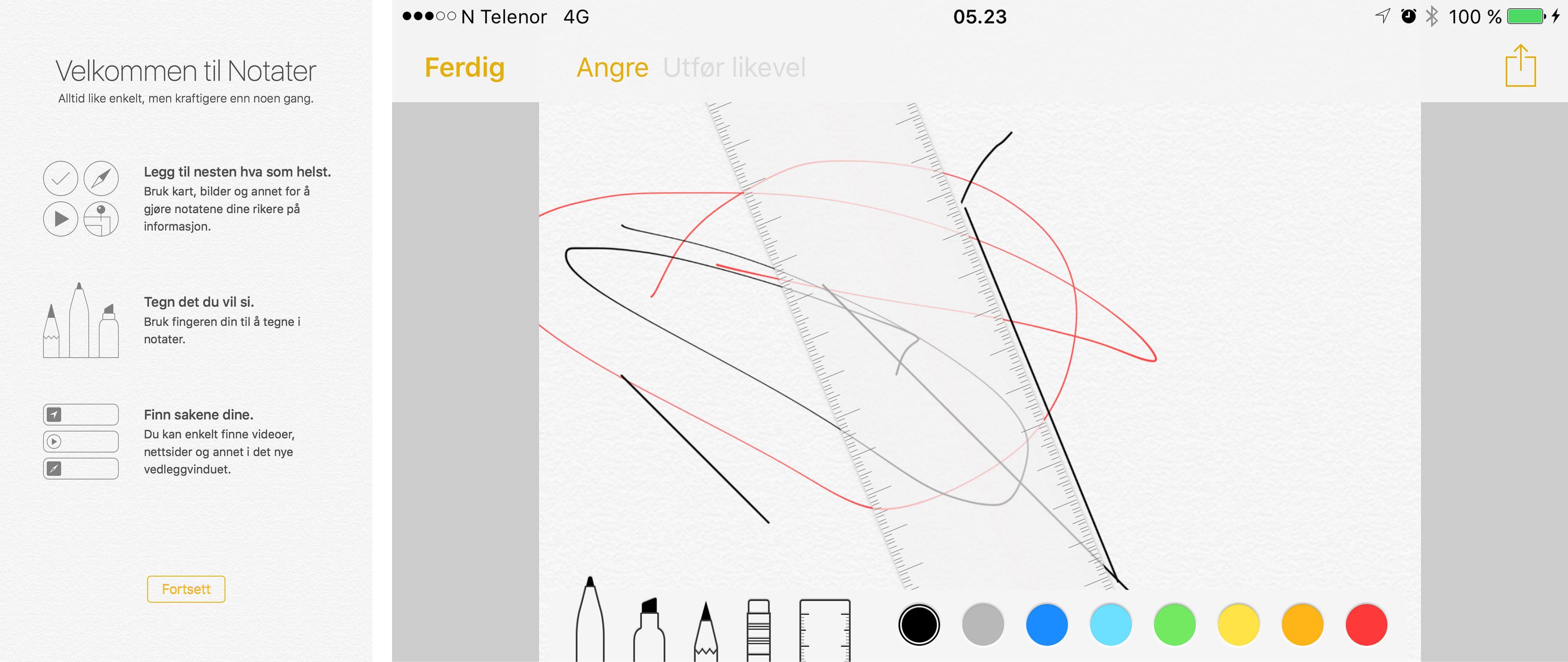 En helt ny notatapplikasjon hører til. Her kan det tegnes, limes inn bilder og mye mer. Det du har lagret spres på tvers av Apple-dingsene dine i iCloud. Foto: Finn Jarle Kvalheim, Tek.no