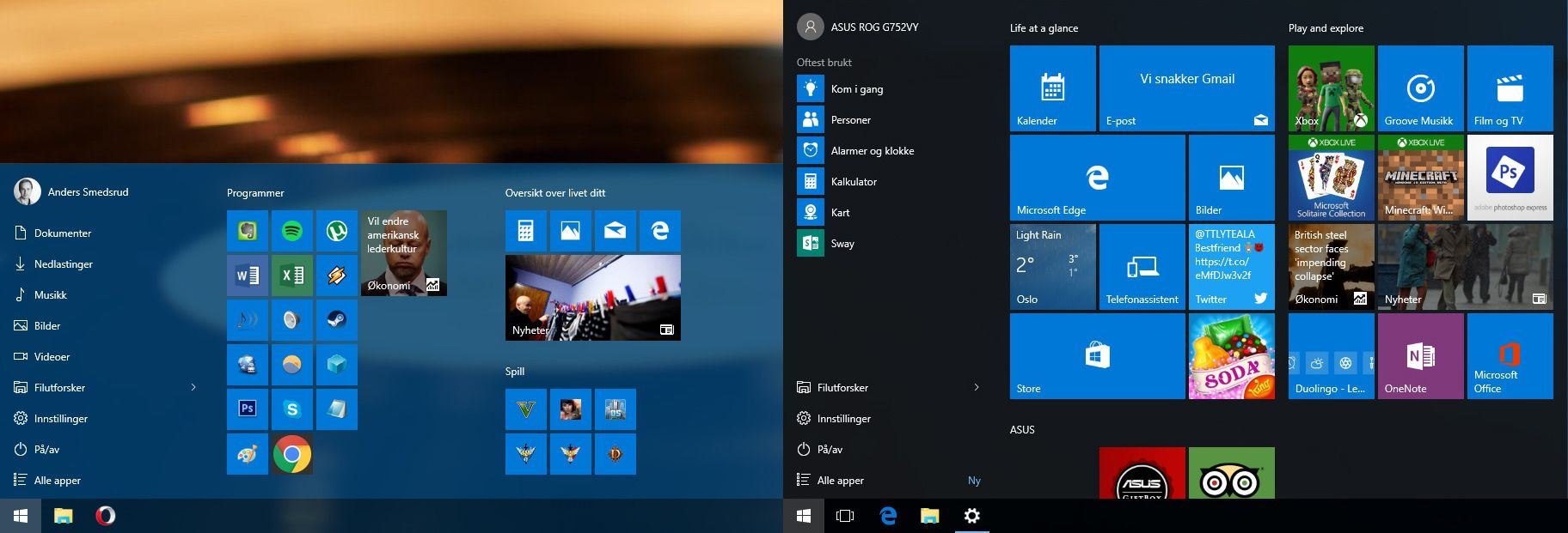 Startmenyen «min» møter Microsoft (og Asus' standardoppsett). Hvilken liker du best?