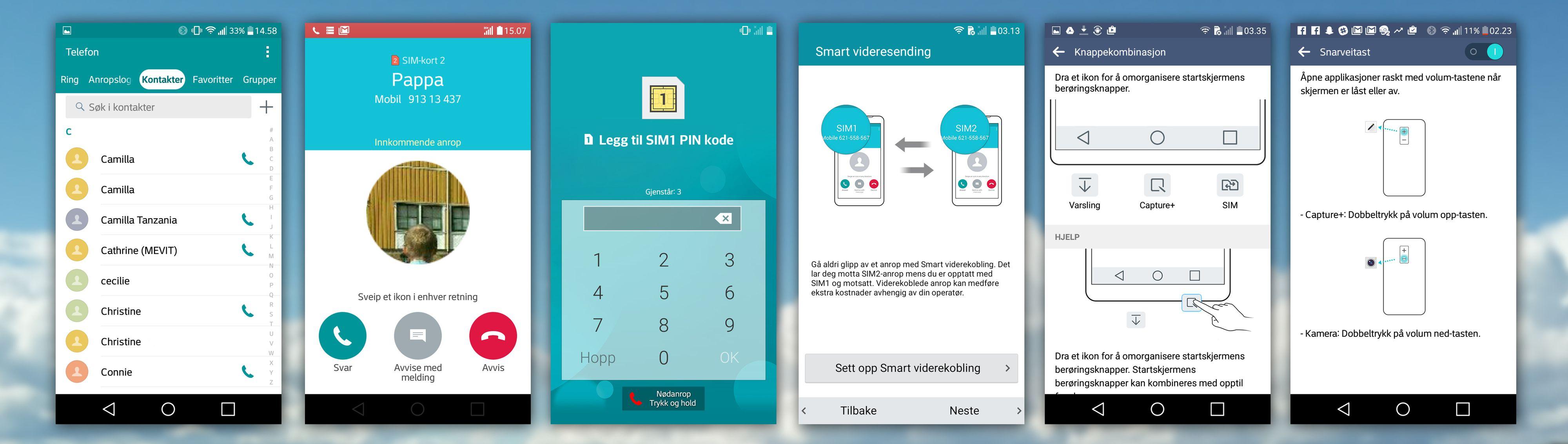 LGs apper er enkle og lettfattelige. Til høyre kan du se noe av ekstrafunksjonaliteten: tvilling-SIM, tilpasningsdyktig knapperad og snarveier via volumknappene bak.