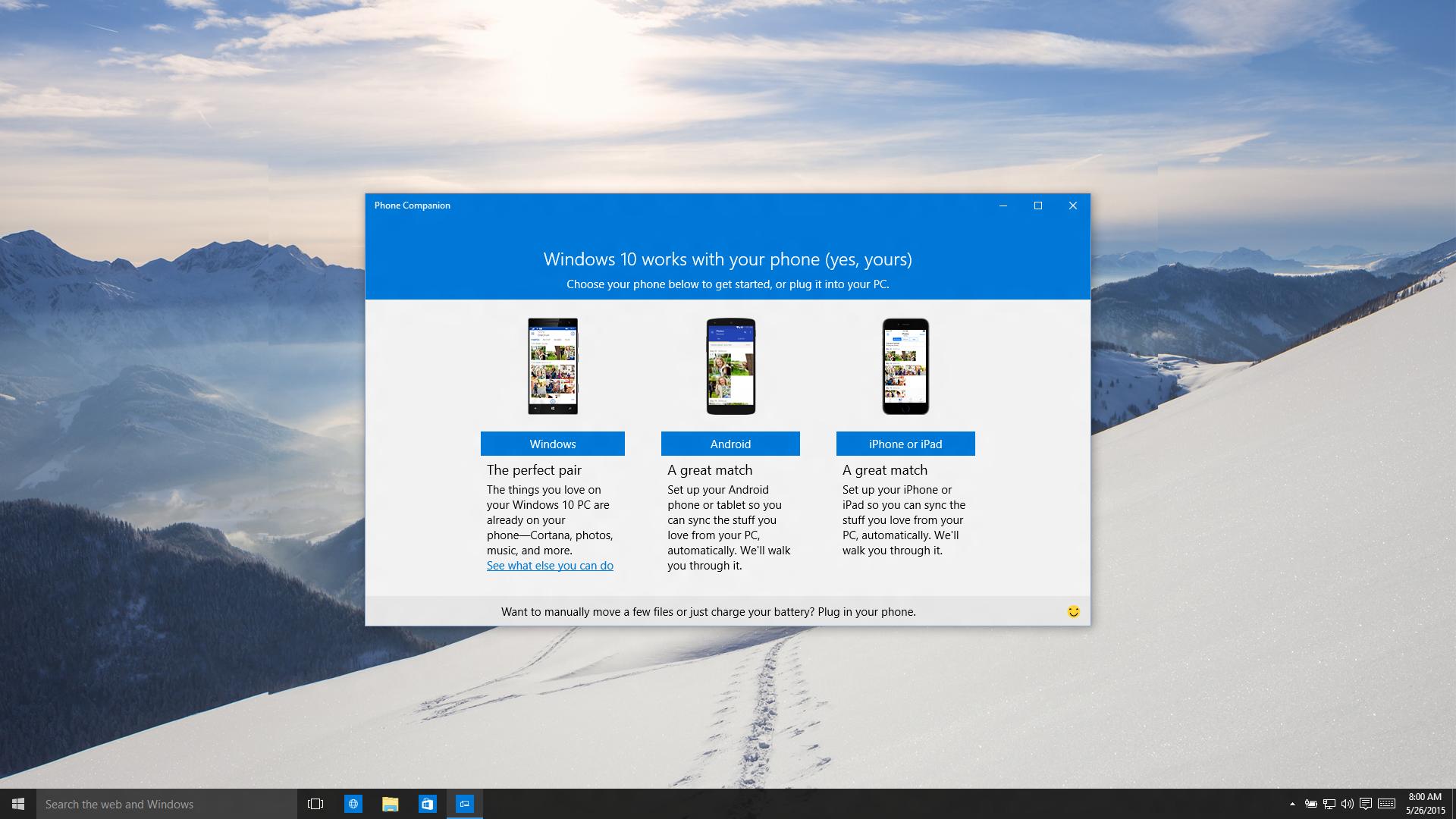Phone Companion lar deg synkronisere både Android- og iOS-enheter med Windows-PC-en. Foto: Microsoft