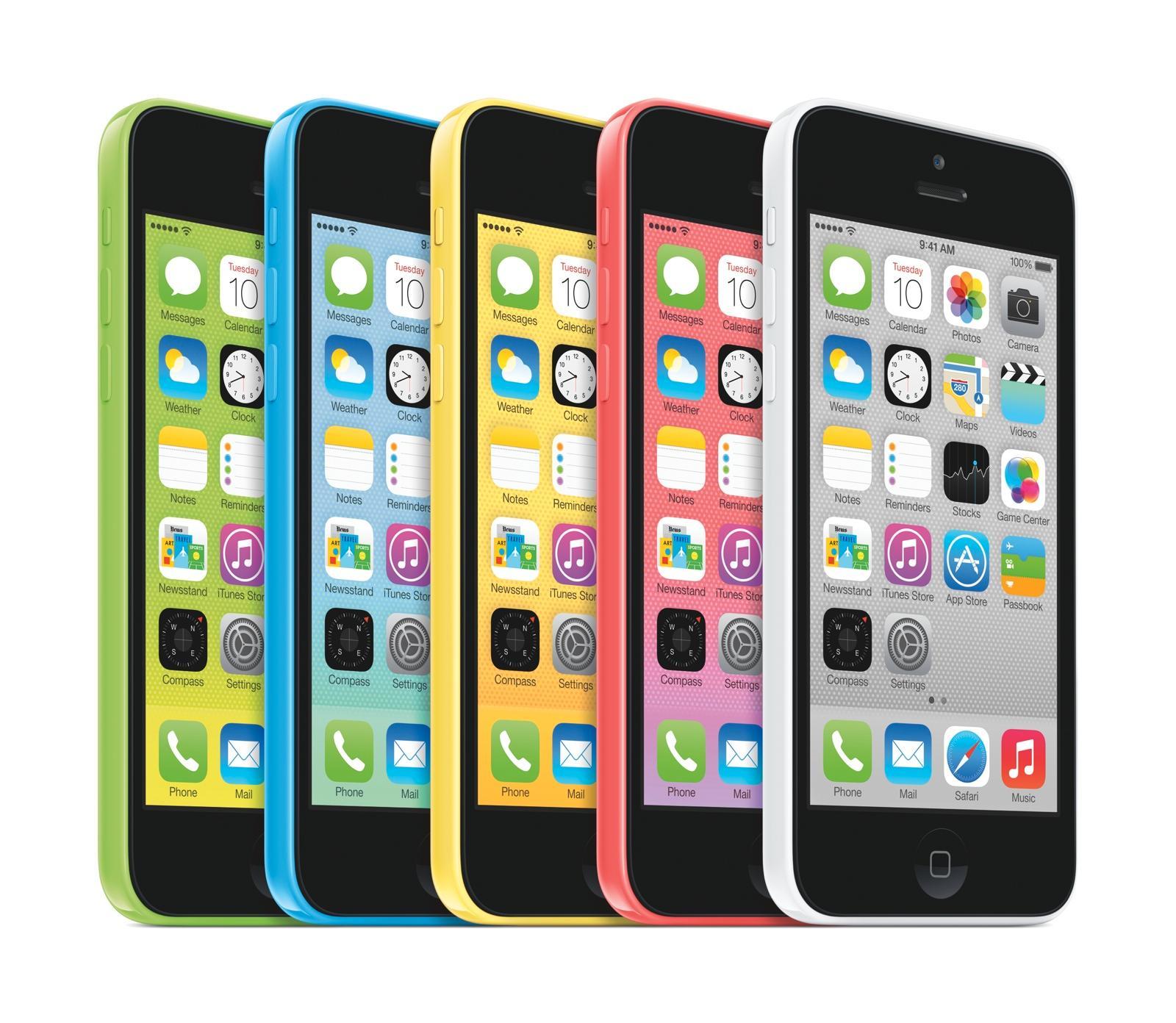 iPhone 5C er en billigere og mer fargerik utgave av Apples iPhone-modeller. Den lander likevel helt i øverste prisklasse for dagens toppmodeller.Foto: Apple
