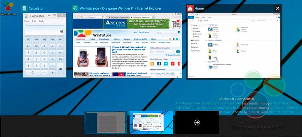 Slik ser angivelig oversikten over de virtuelle skrivebordene ut i Windows 9.Foto: WinFuture