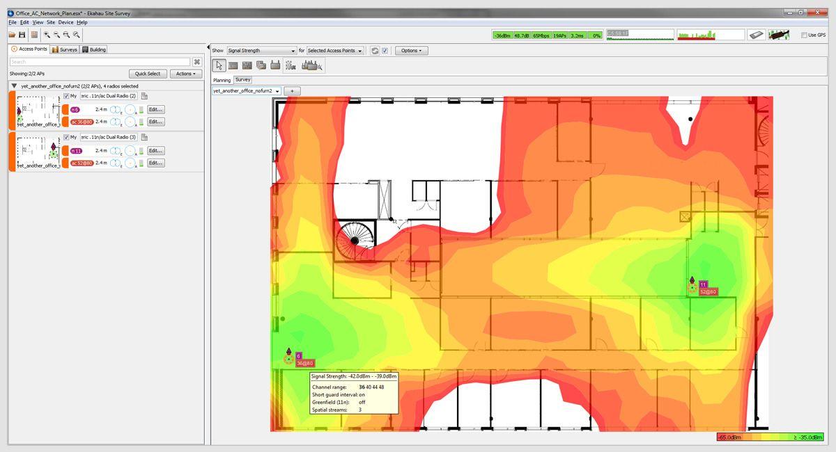 På dette varmekartet fra Ekahau Heatmapper er grønt best og rødt dårligst. Dekningen øverst i lokalet er dårlig, så her kunne man enten ha satt opp et aksesspunkt til, eller flyttet ett av de andre aksesspunktene for å se om det blir bedre.