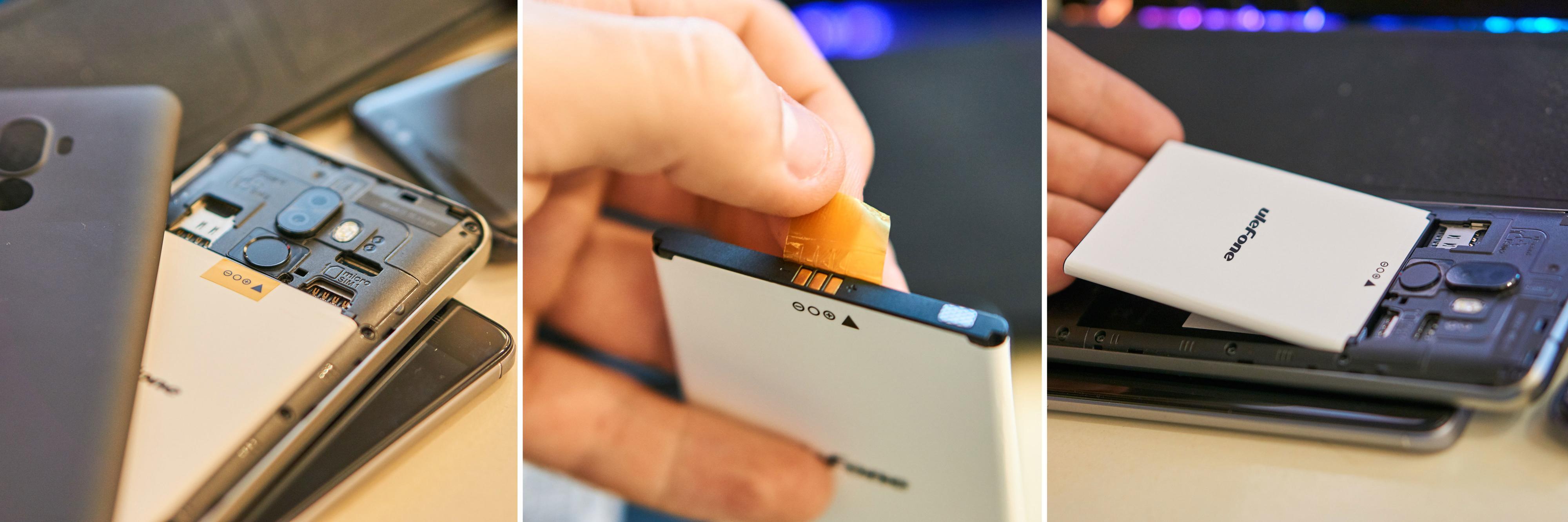 Før telefonen kunne skrus på måtte vi fjerne en liten plastlapp over batteriet.