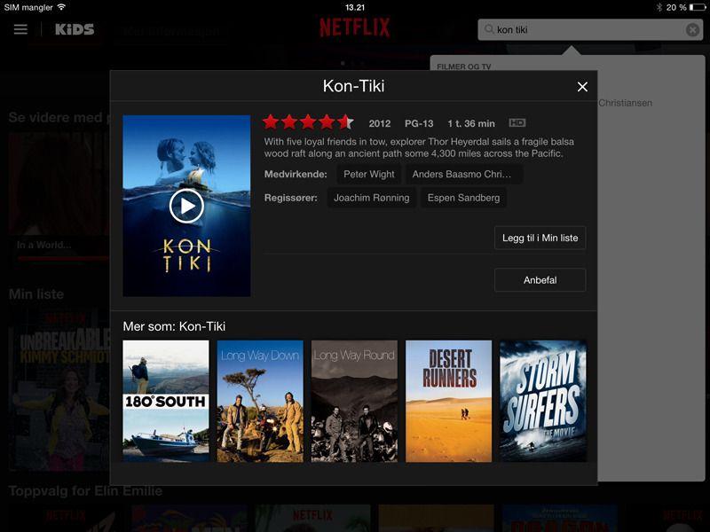 Norske Kon-Tiki får du sett via amerikansk Netflix - men ikke norsk (foreløpig). Foto: skjermbilde