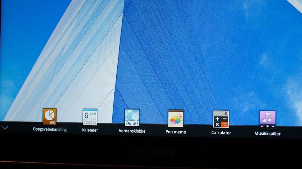 Nederst på skjermen kan du hente frem miniwidgets til de mest brukte nyttefunksjonene.
