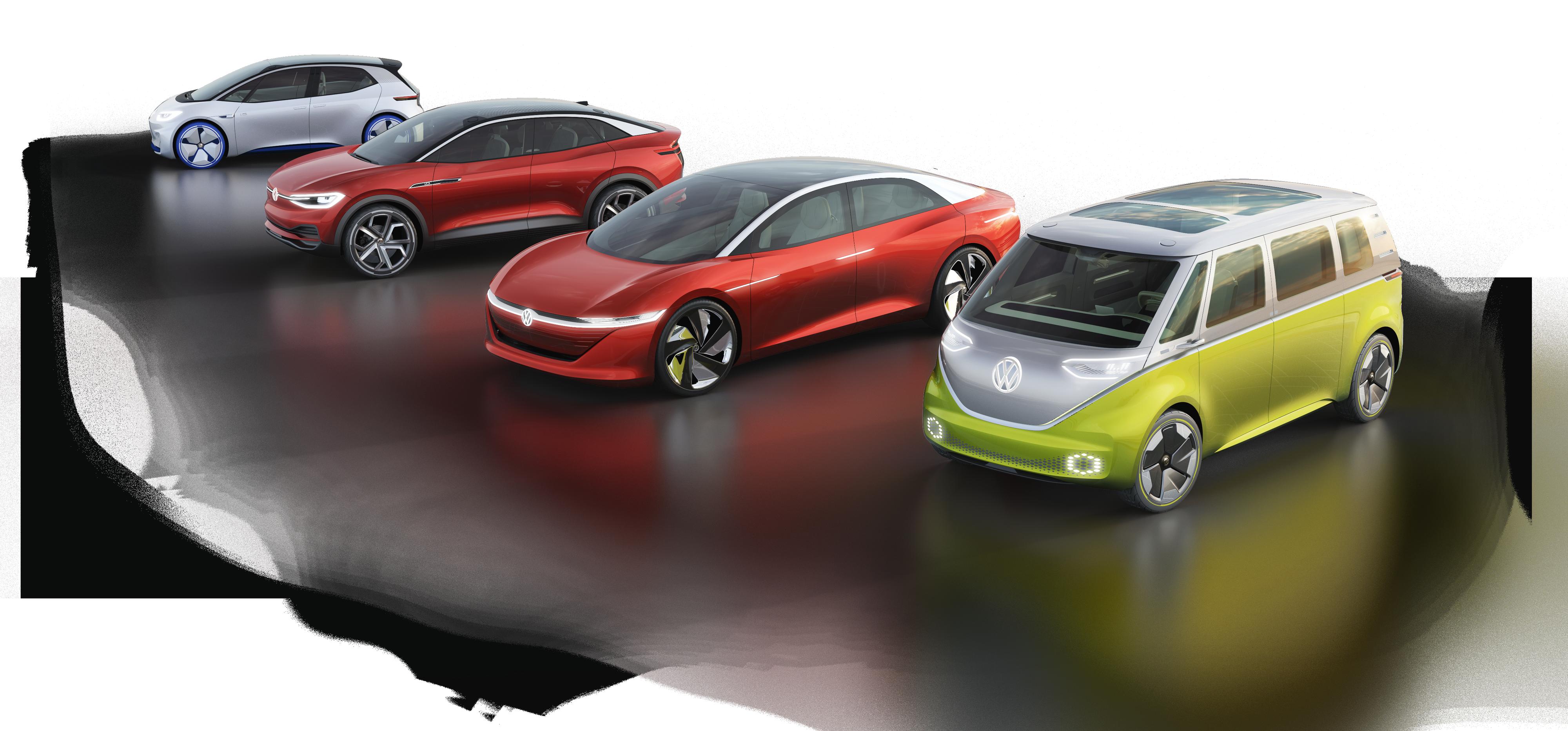 Volkswagens familie med I.D.-biler. Fra venstre I.D. Concept, Crozz, Vizzion og Buzz.
