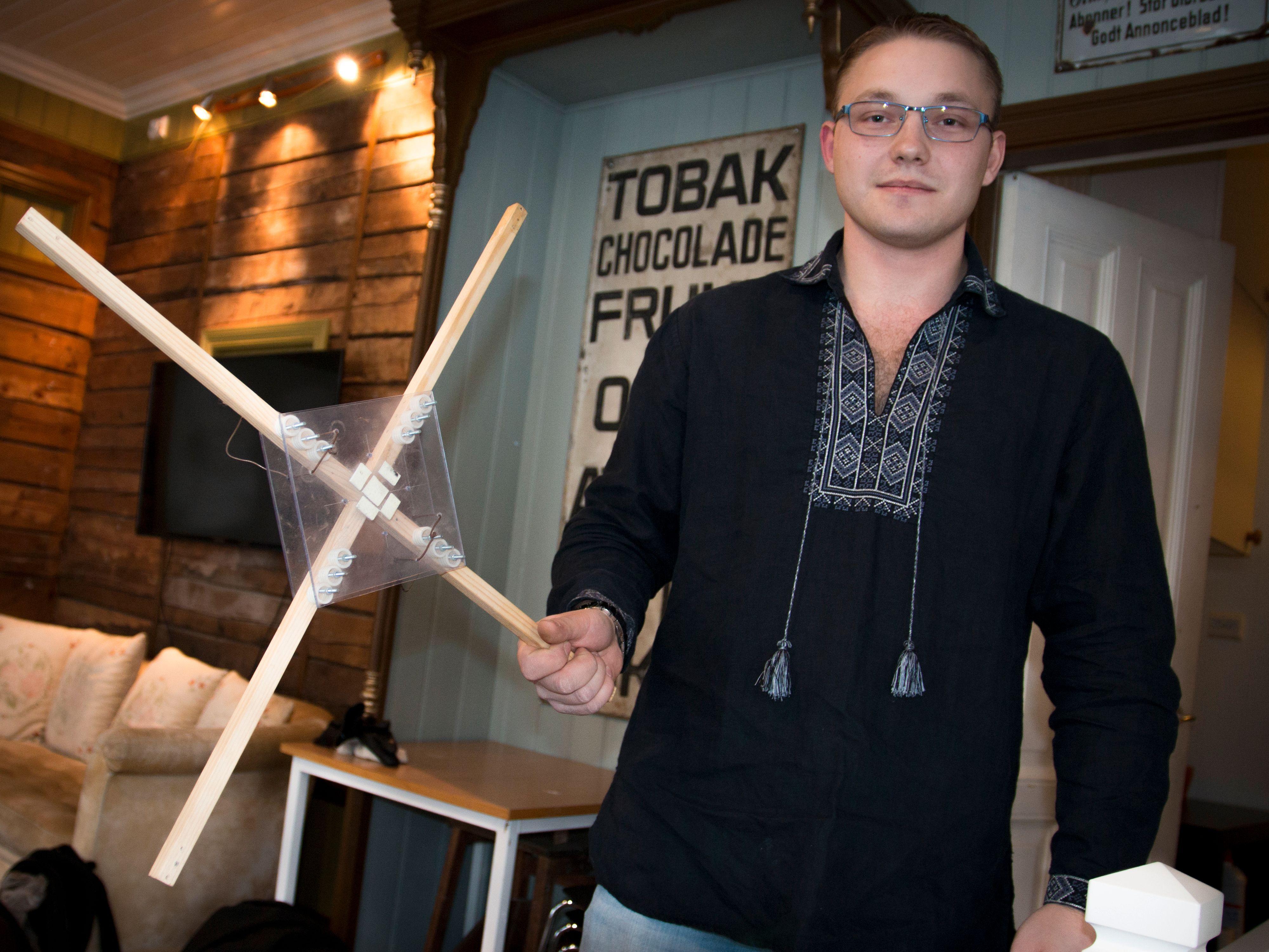 Rammeverket fra den første dronen Slettevoll laget. Foto: Kristoffer Møllevik