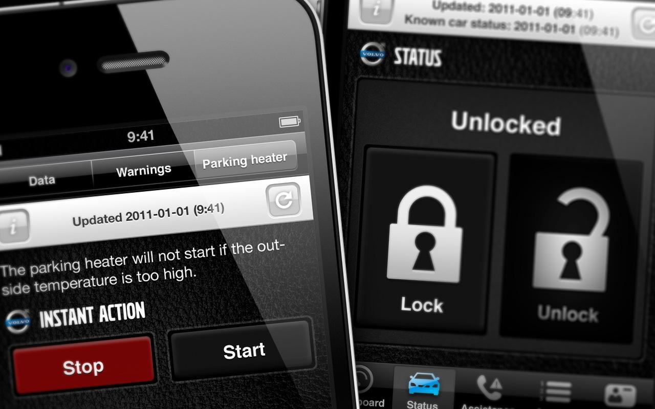Volvo har en app som lar deg slå på varmeapparatet, låse dører eller sjekke bensinnivået fra mobilen.Foto: Volvo