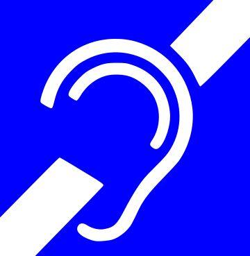 Det internasjonale symbolet for døvhet.