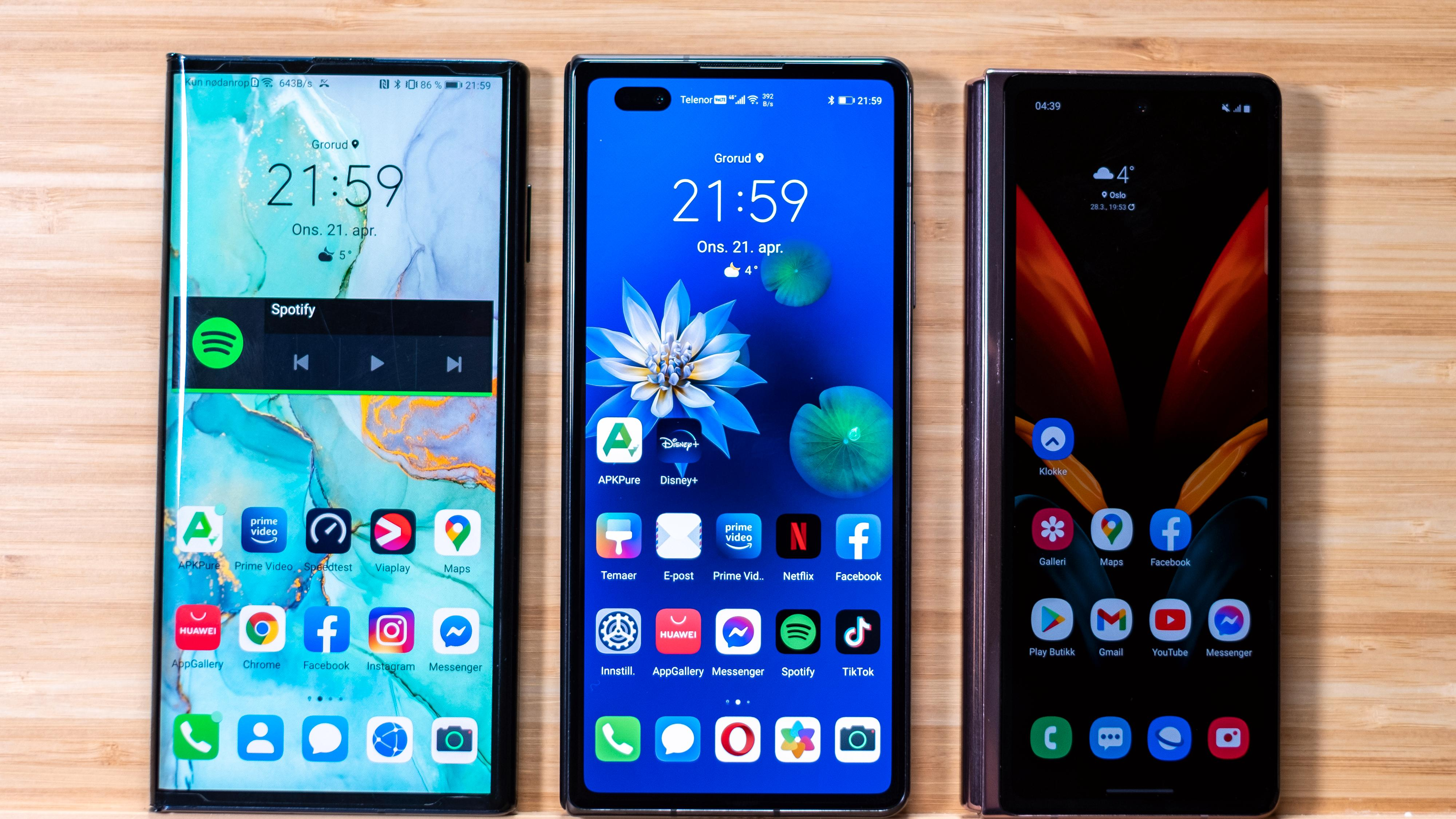 Fra venstre; Huawei Mate Xs, Mate X2 og Samsung Galaxy Z Fold 2. De tre er foreløpig eksklusive medlemmer av sjangeren brettbare mobiler, som også inkluderer et par modeller fra Motorola, Xiaomi og Royole.