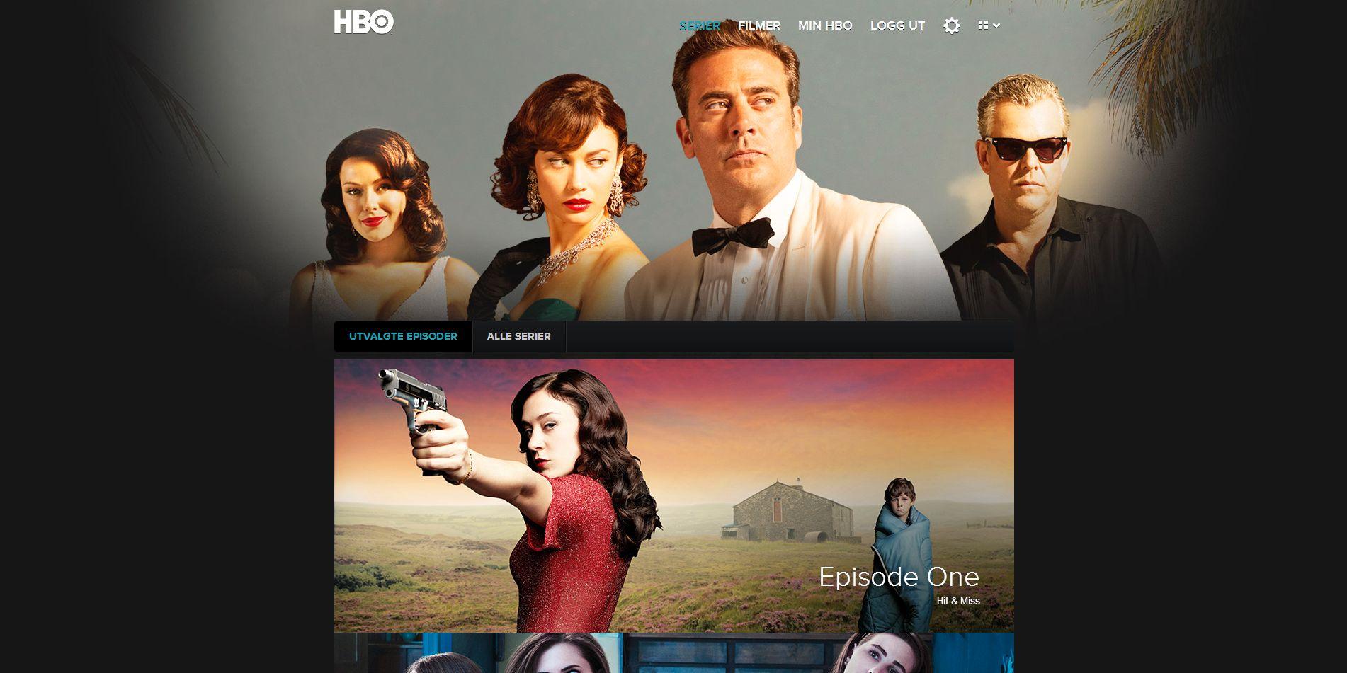 På forsiden kan du se serier på to ulike måter. Dette er standardmåten, med store, fine bilder.