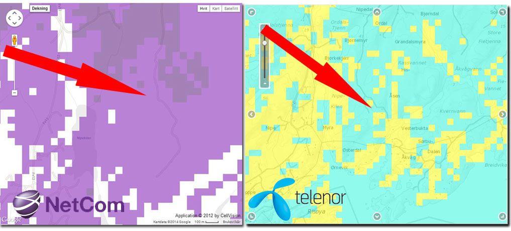 Dekningskartet viser at det er et vanskelig område hytta ligger i, men både Netcom (lilla = 4G) og Telenor (lyseblå = 4G) hevder å ha dekning akkurat der hytta ligger.Foto: Espen Irwing Swang