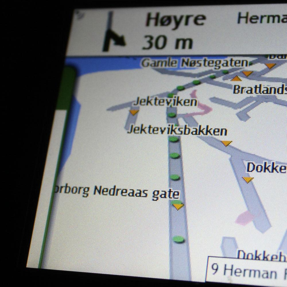 De grønne prikkene representerer spor etter hvor du har kjørt.