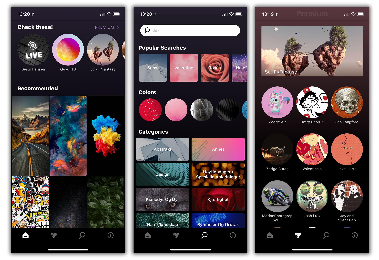 Slik ser Zedge-appen ut.