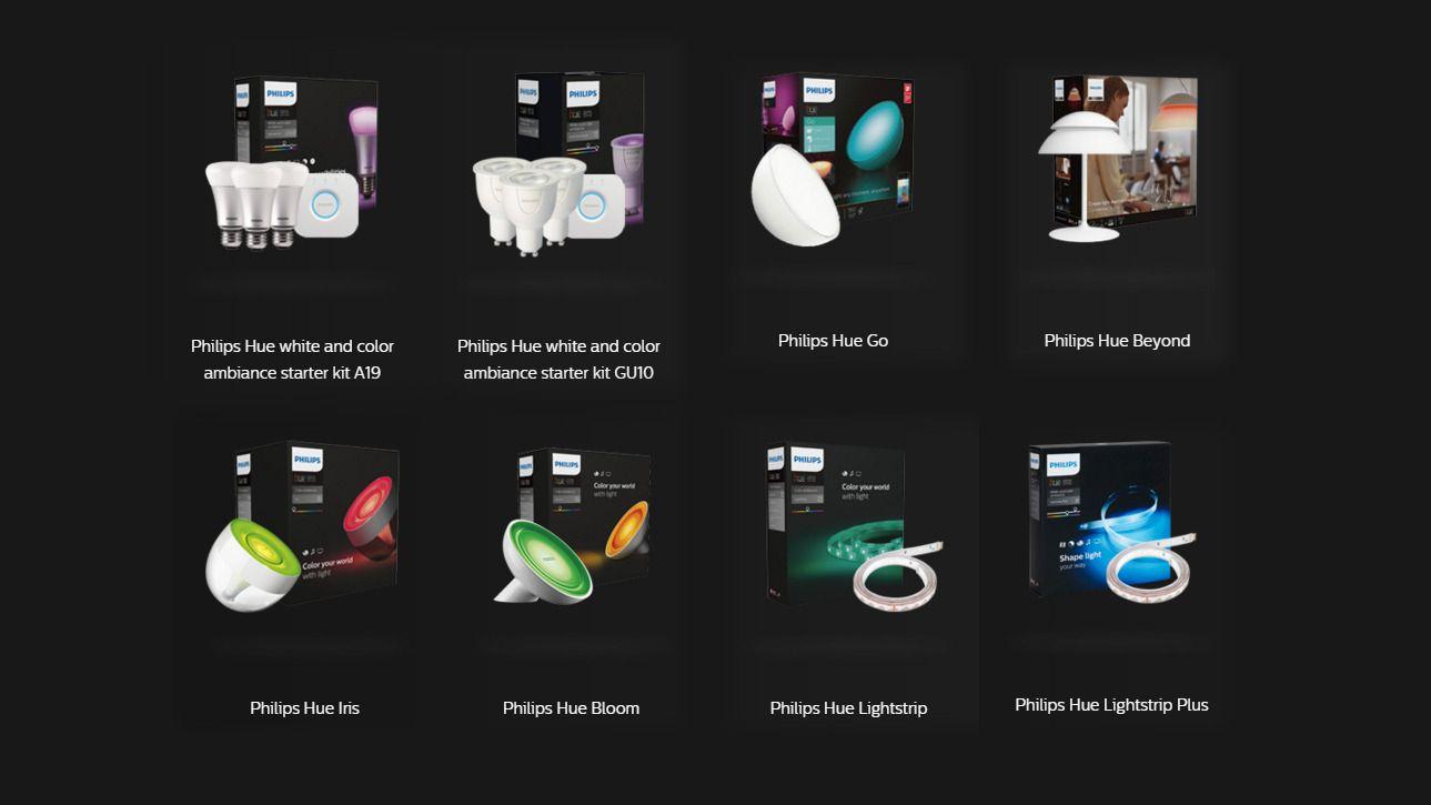 Noen av produktene i Hue-systemet. Vi har testet startsettet oppe til venstre i bildet, sammen med et «Dimming kit» som ikke er i bildet.