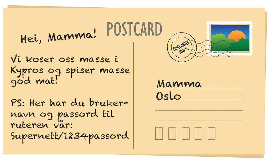 Hvis du ikke skriver passordet ditt på et postkort så burde du heller ikke gjøre det over et usikret nett.