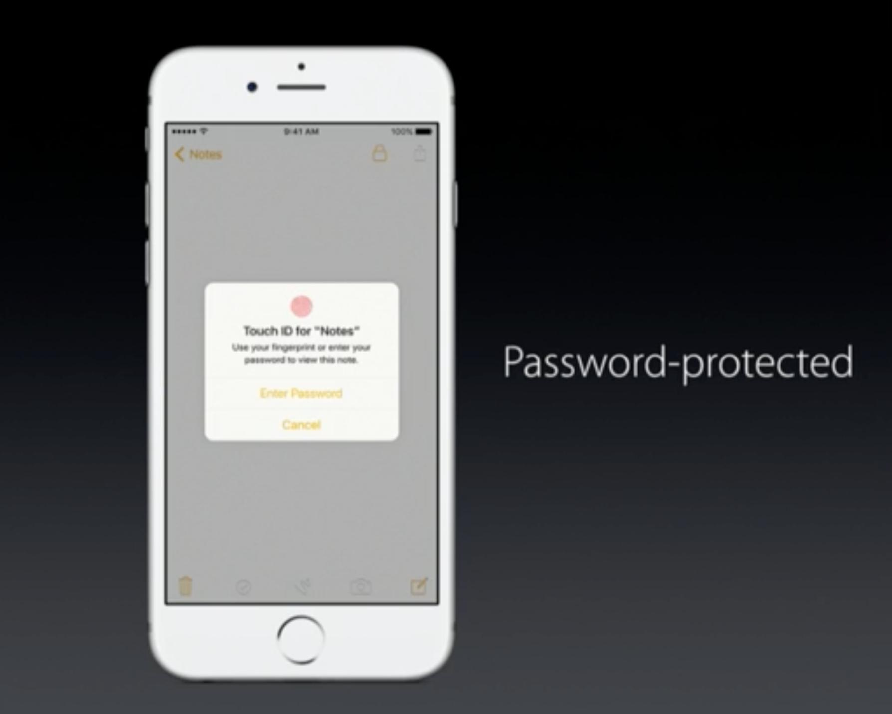 Den nye Notis-appen får passordbeskyttelse.