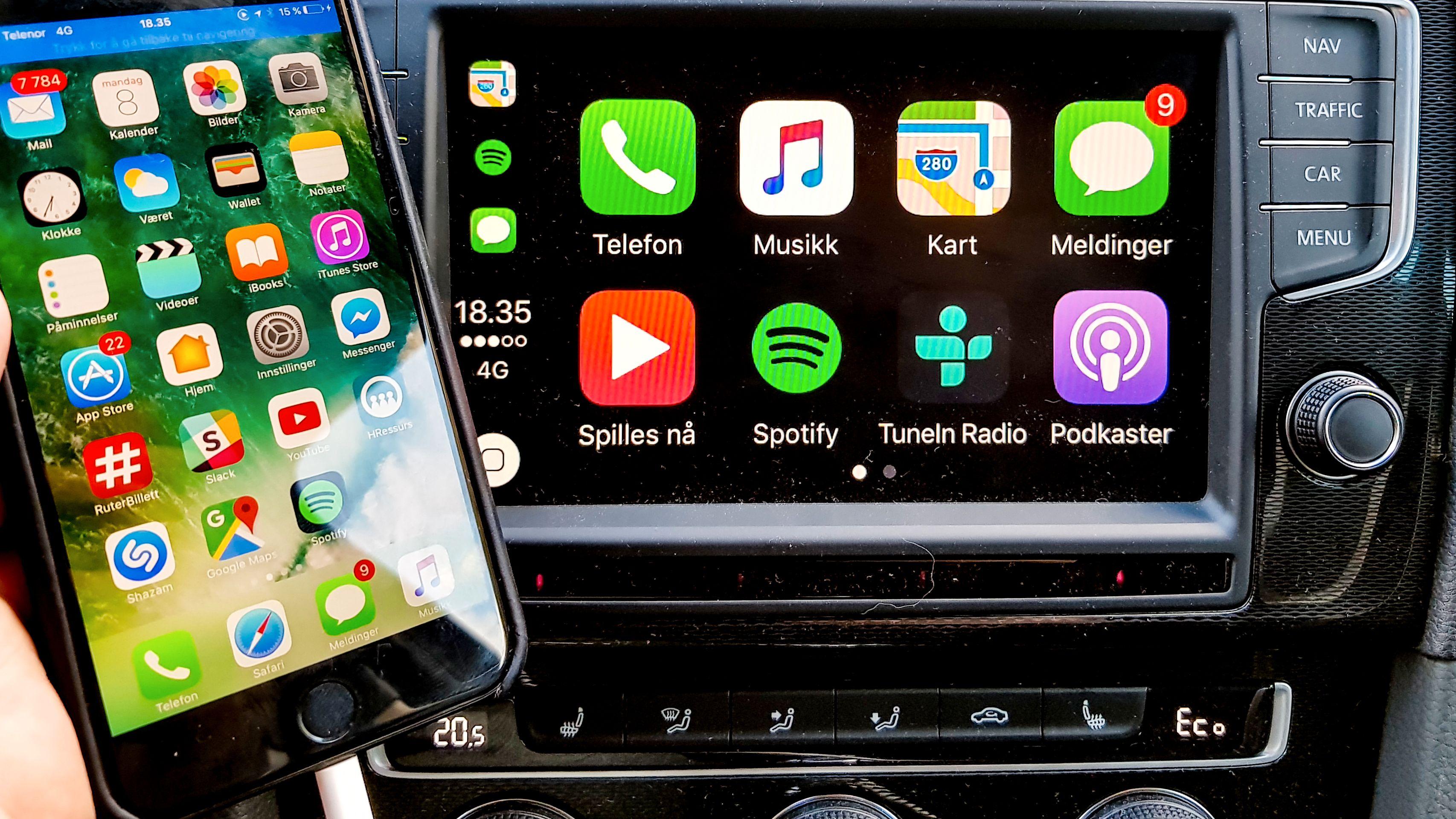 En forenklet utgave av den vanlige appmenyen havner på bilanlegget når man kobler til en iPhone. Bilde: Finn Jarle Kvalheim, Tek.no