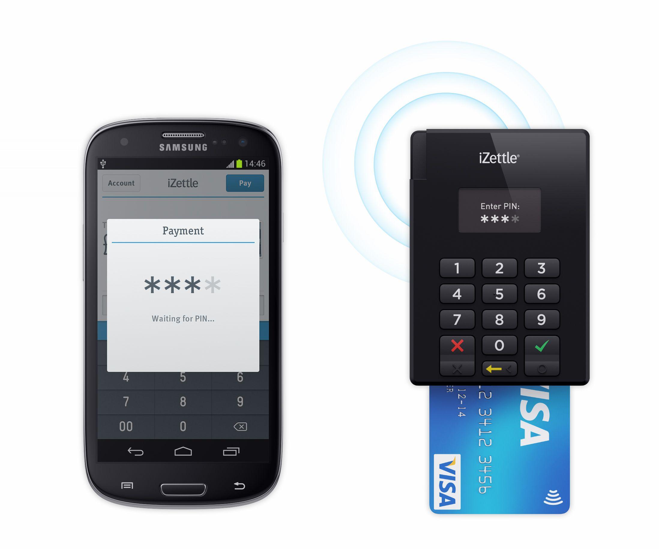 Kortleseren kobler seg til mobiltelefonen trådløst via Bluetooth.Foto: iZettle