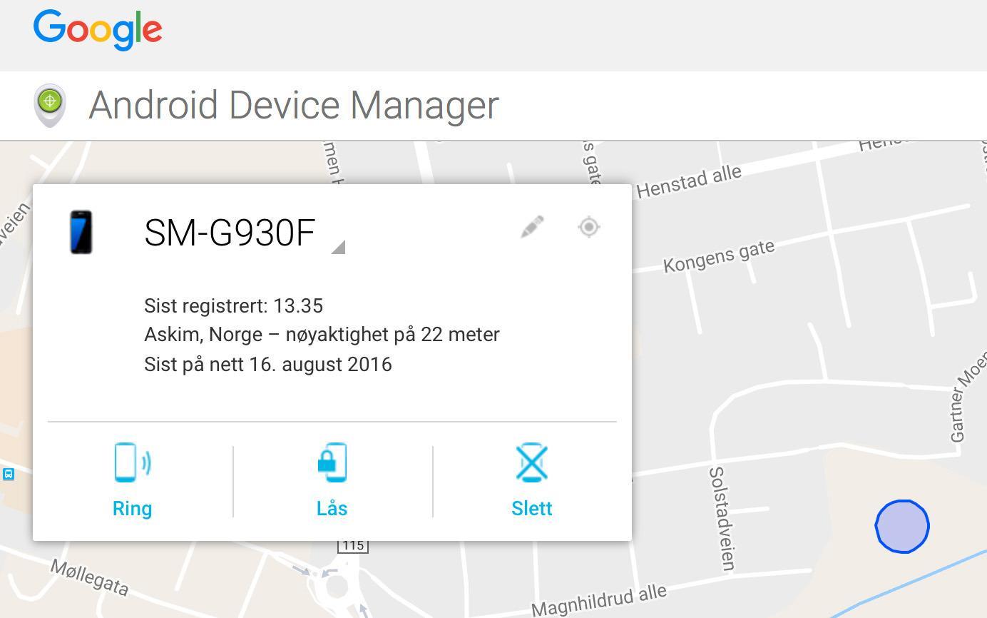 Med Android Device Manager kan du både spore og fjernslette telefonen.