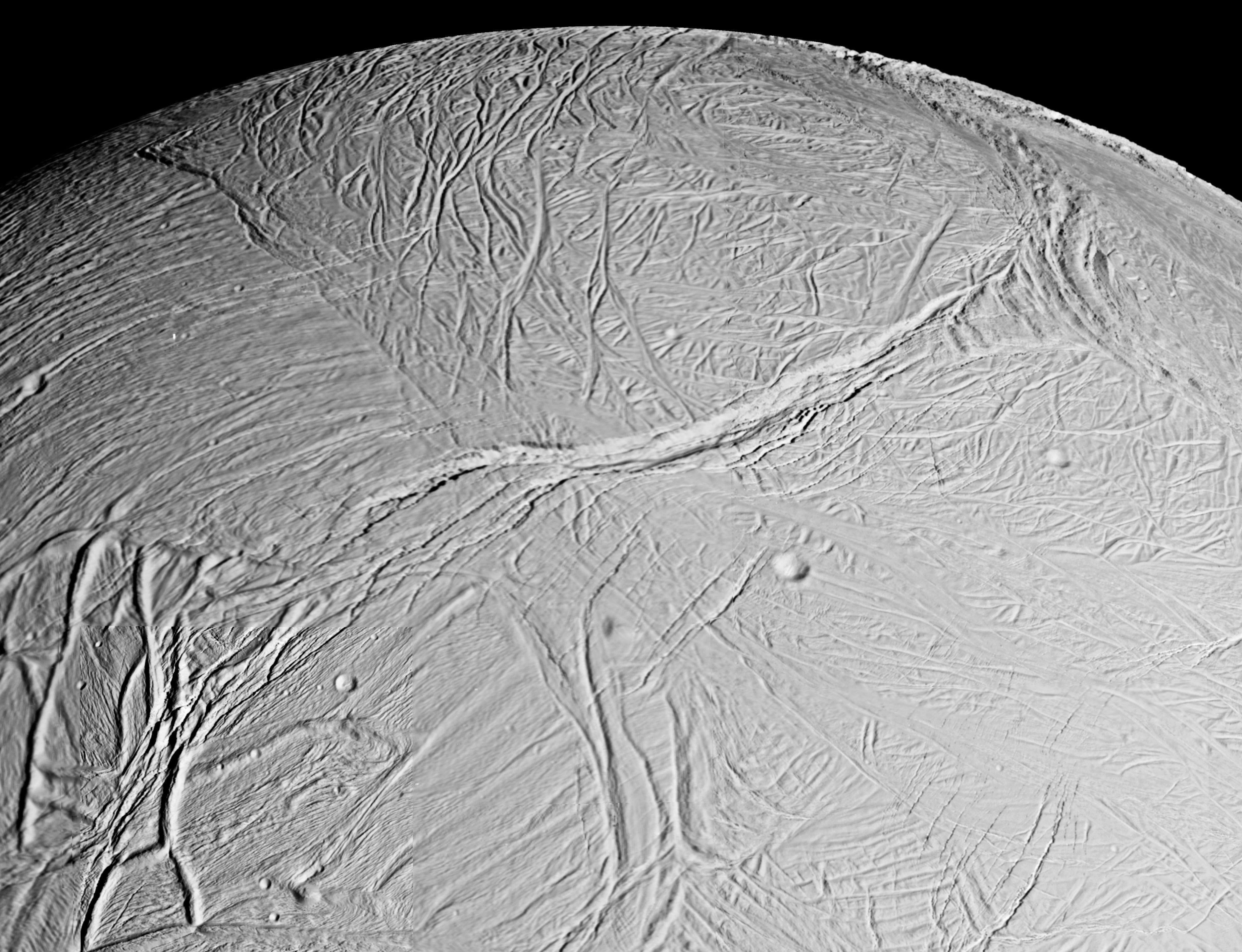 Overflaten til Enceladus minner om overflaten til Europa. Foto: NASA/JPL-Caltech
