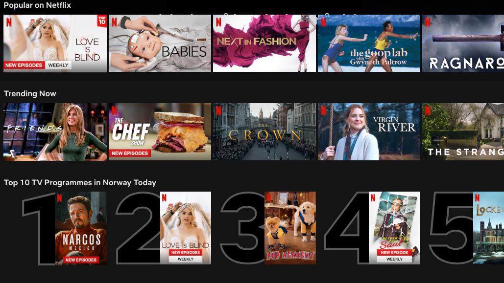 Netflix får nå en norsk topp 10-liste, så du enkelt kan se hva som er populært.