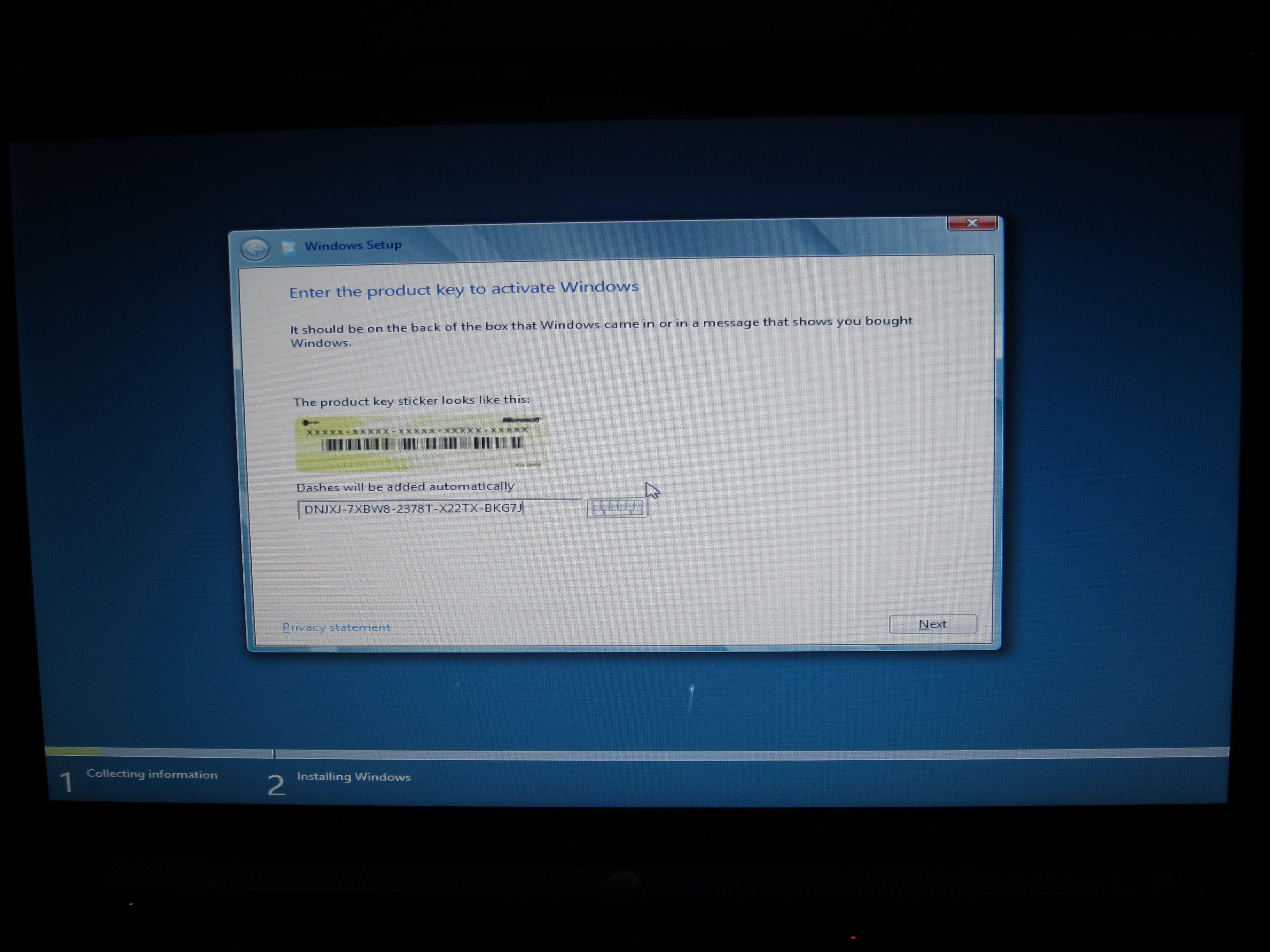 Denne lisensnøkkelen fungerte bare for Consumer Preview-utgaven av Windows 8.