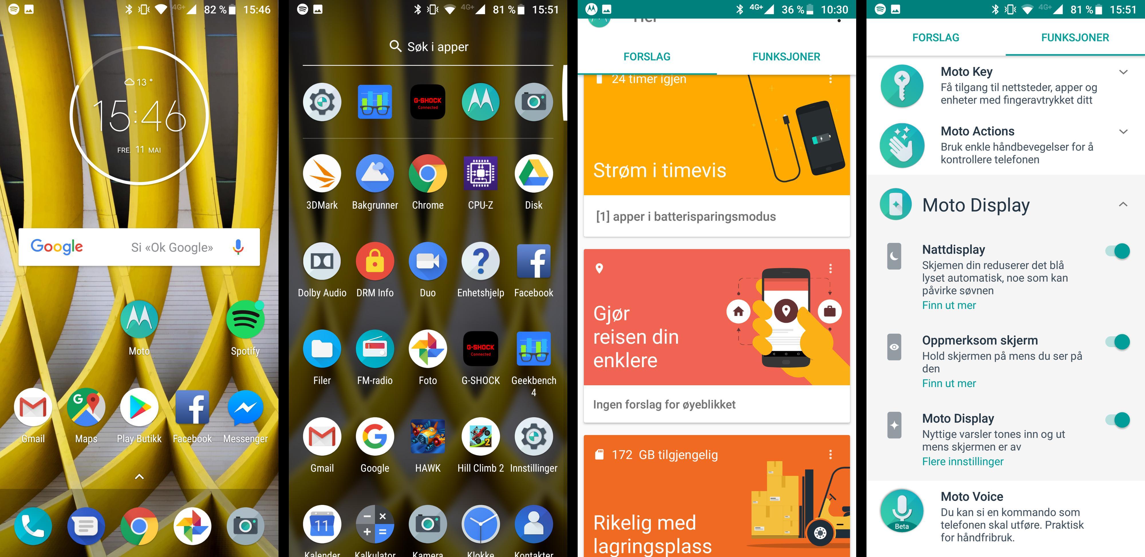 Det er lite utenomsnakk i menyene på Moto G6 Plus. Det meste av Motorolas egne funksjoner finner du i en egen app prydet med M-logoen.